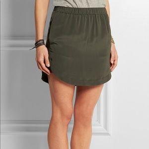Madewell Olive Green Elin Washed-Silk Mini Skirt